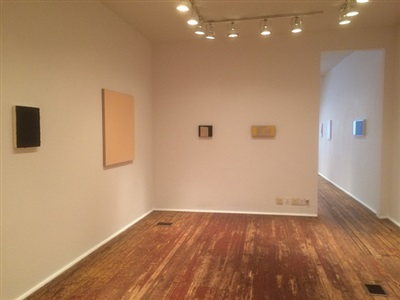 in daylight small paintings: installation view: kazimira rachfal & karen baumeister [from right to left] chklst. nos. 19., 20., 21.& 22.